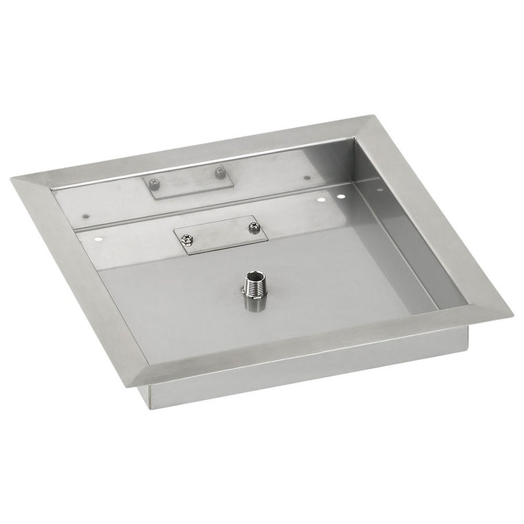 "American Fire Glass - Drop-In Fire Square Stainless Steel Pit Pan (1/2"" Nipple) , American Fire Glass- grayburd"
