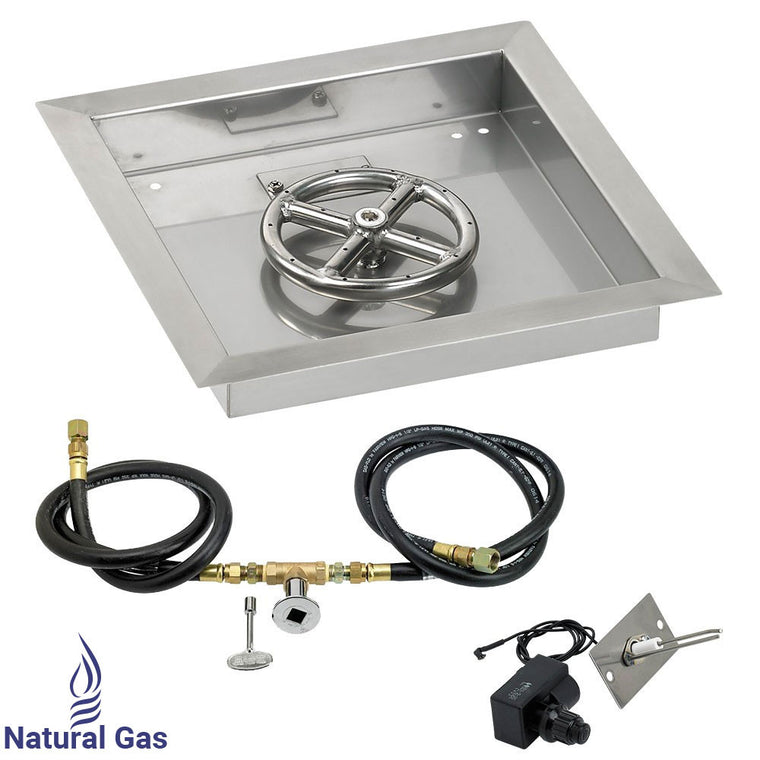 American Fire Glass - Ring Burner Stainless Steel Drop-In Fire Pan (Spark Ignition Kit) , American Fire Glass- grayburd