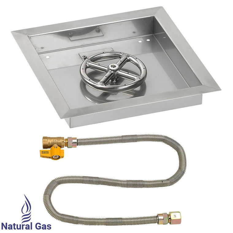 American Fire Glass - Ring Burner Stainless Steel Drop-In Pan with Match Light Kit , American Fire Glass- grayburd