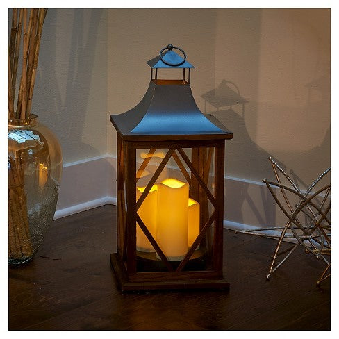 "Portland 22"" Triple LED Candle Lantern - Dark Coffee"