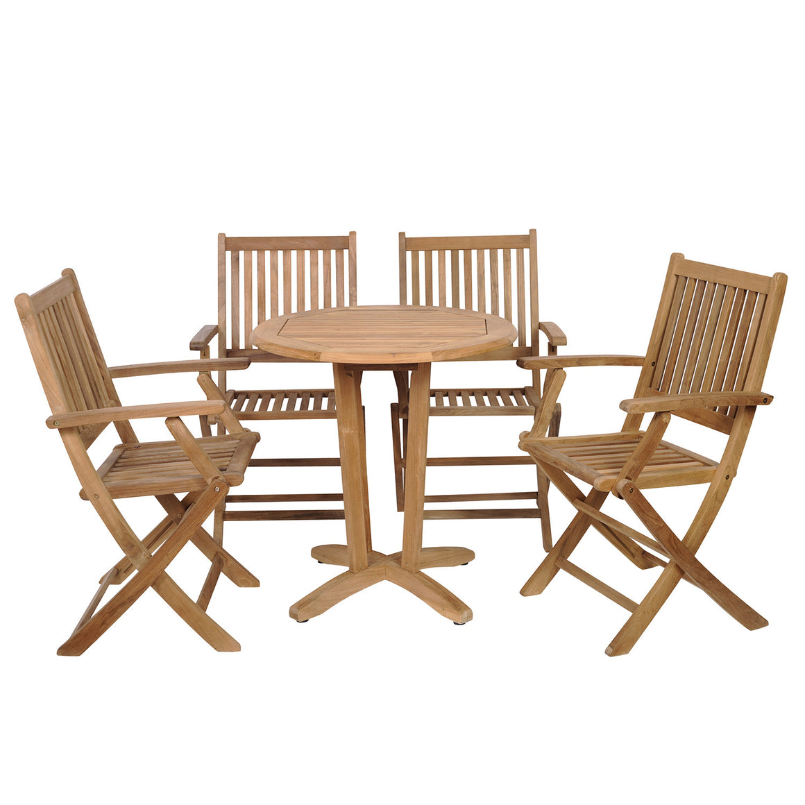Kansas 5 Piece Teak Round Patio Bistro Set , International Home Miami- grayburd