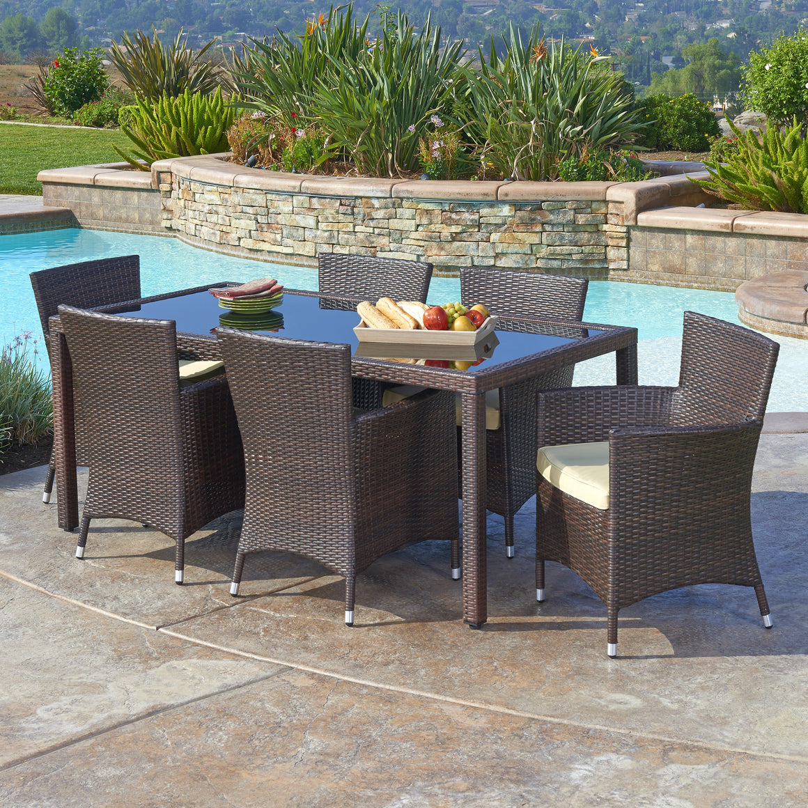 W Unlimited Hamburg Collection 7PC Dark Brown Wicker Outdoor Garden Patio Dinning Furniture Set w/ Beige Cushion , W Unlimited- grayburd