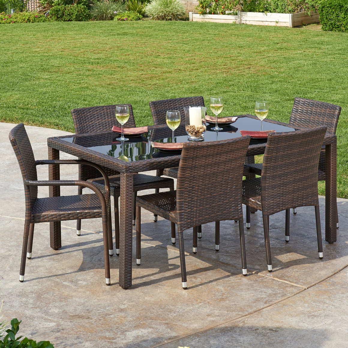 W Unlimited Arenal Collection 7PC Dark Brown Wicker Outdoor Garden Patio Dinning Furniture Set , W Unlimited- grayburd