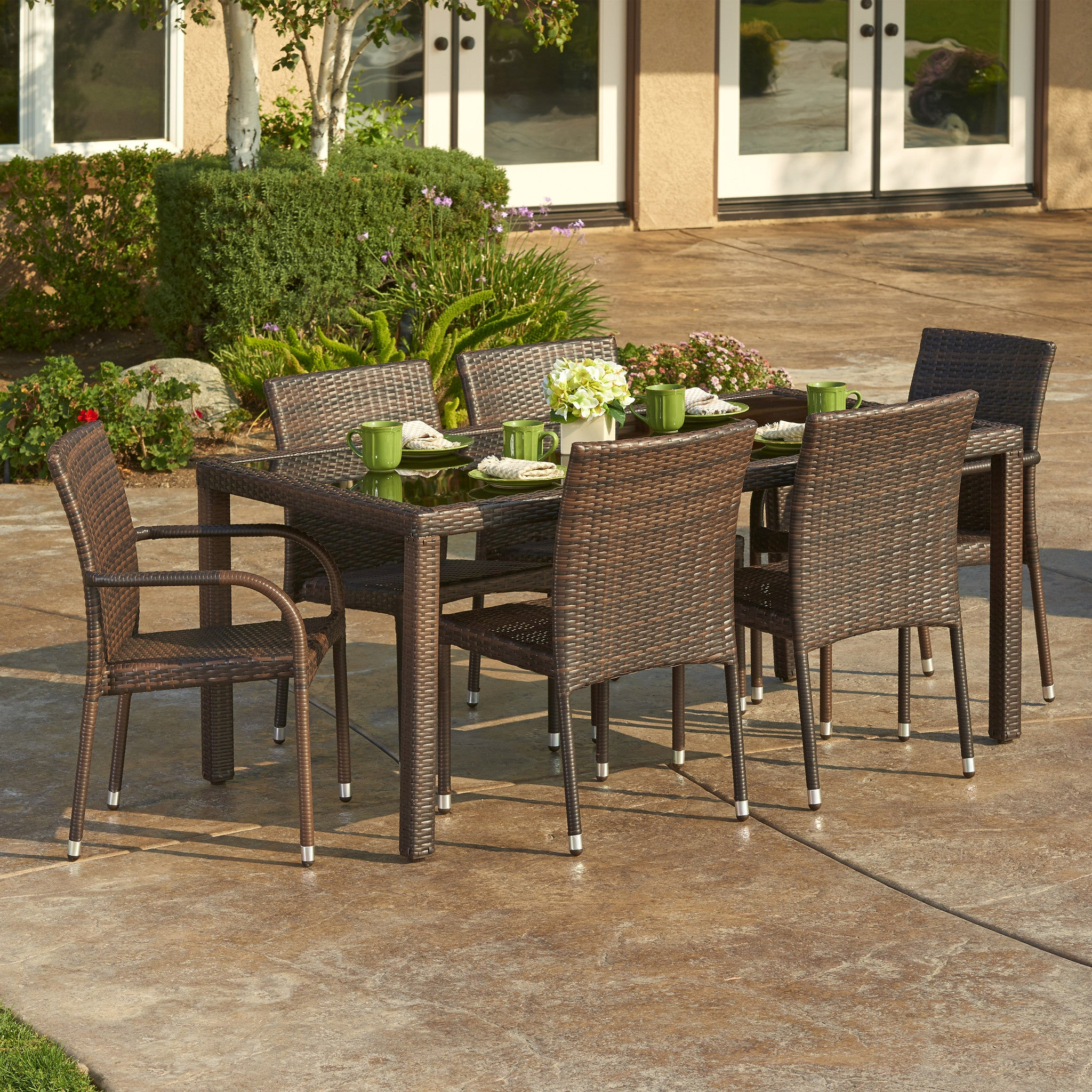 ... W Unlimited Arenal Collection 7PC Dark Brown Wicker Outdoor Garden Patio  Dinning Furniture Set , W ...