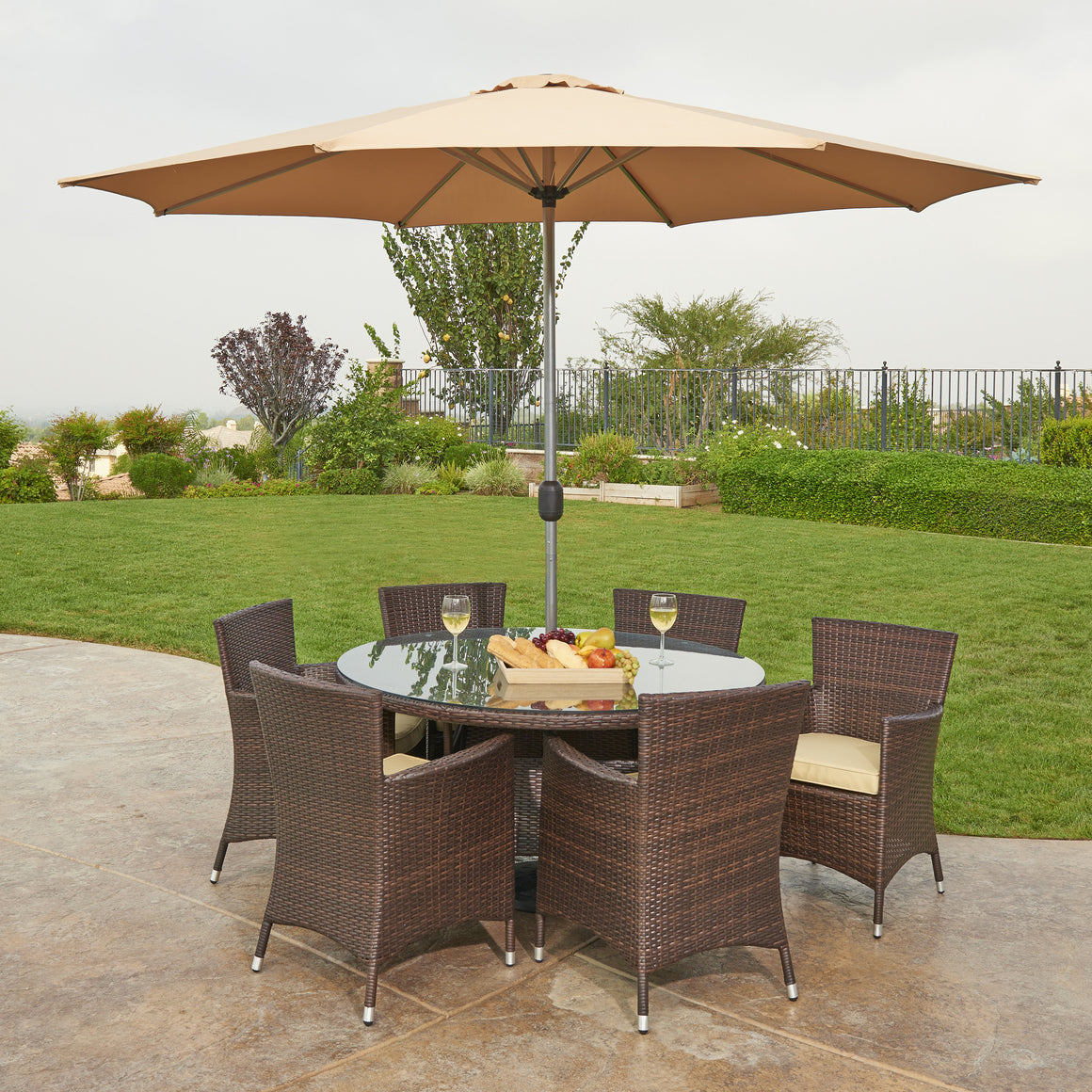 W Unlimited St. Maria Collection 8PC Dark Brown Wicker Outdoor Garden Patio Dinning Furniture Beige Cushion Set w/ Umbrella + Pillow , W Unlimited- grayburd