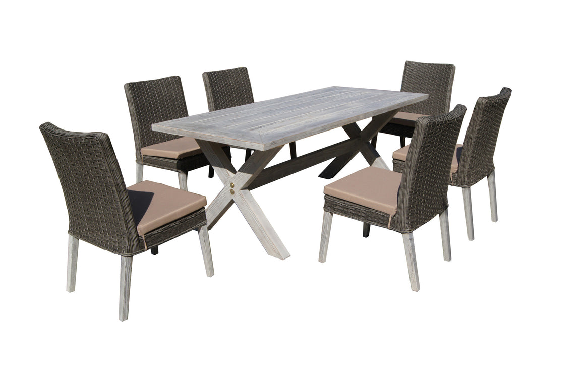 W Unlimited Cleo Collection 7PC Antique Gray Wicker Outdoor Garden Patio Dinning Furniture Beige Cushion Set , W Unlimited- grayburd