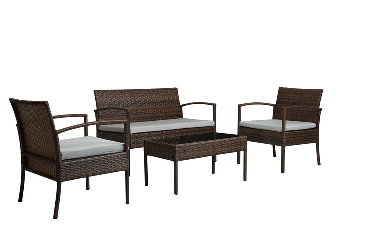 W Unlimited  Lucy Collection Outdoor Garden Black  Wicker Conversational Furniture 4PC set w/ Table Light Gray Cushion , W Unlimited- grayburd