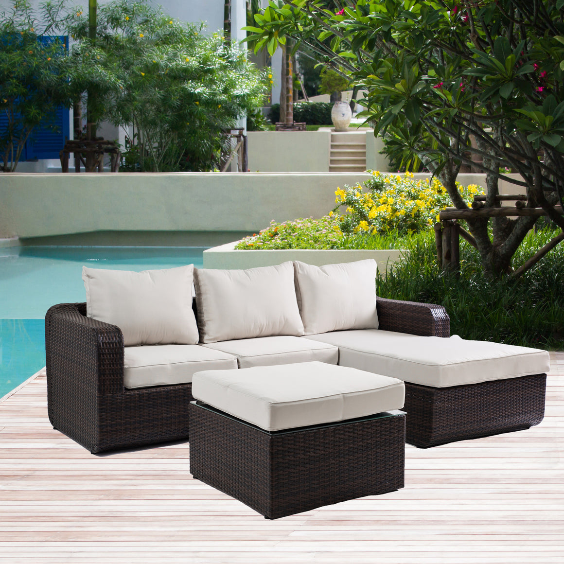 W Unlimited Aspire Collection Outdoor Garden Dark Brown Wicker Conversational Furniture 3PC set w/ Beige Cushion , W Unlimited- grayburd