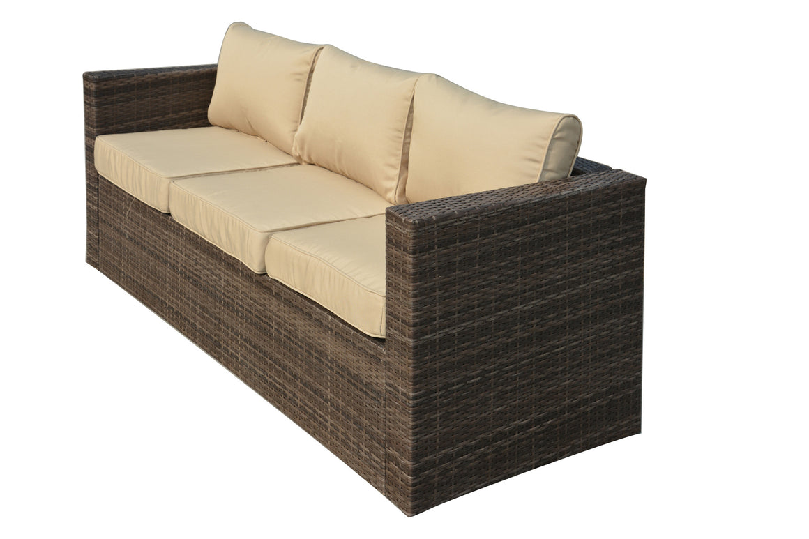 W Unlimited Mia Collection Outdoor Garden Dark Brown Wicker Conversational Furniture 4PC set w/ Table Beige Cushion , W Unlimited- grayburd