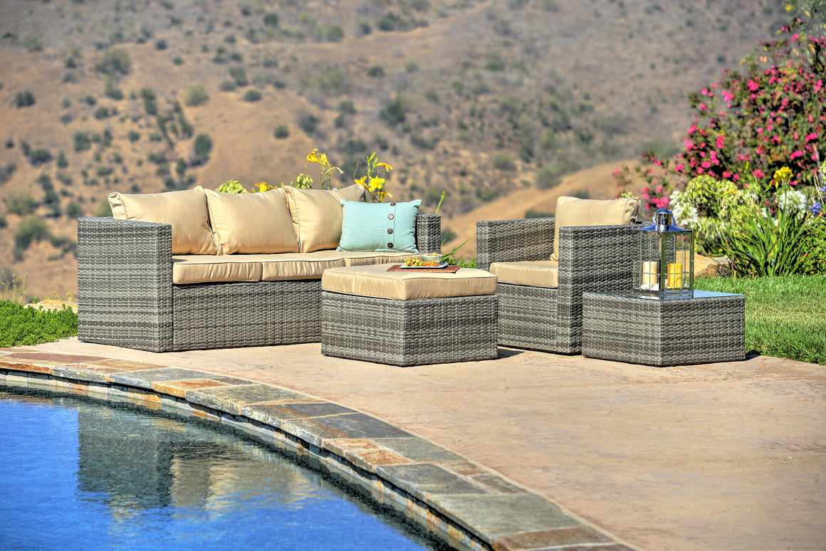 W Unlimited MIa Collection Outdoor Garden Gray Wicker Conversational Furniture 4PC set w/ Table Beige Cushion , W Unlimited- grayburd