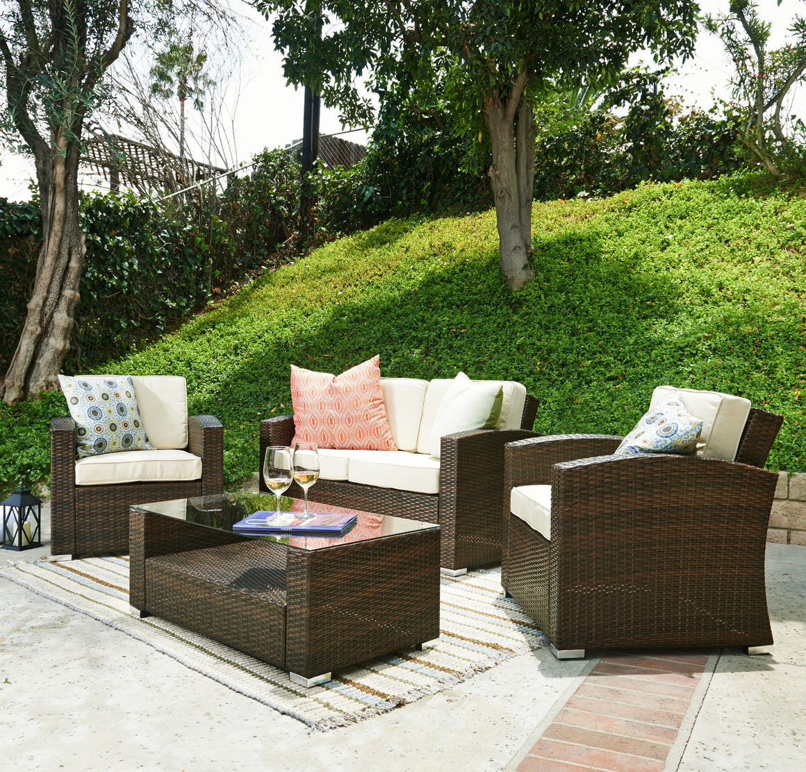 W Unlimited Emma Collection Outdoor Garden Patio Furniture 4PC set w/ Table , W Unlimited- grayburd