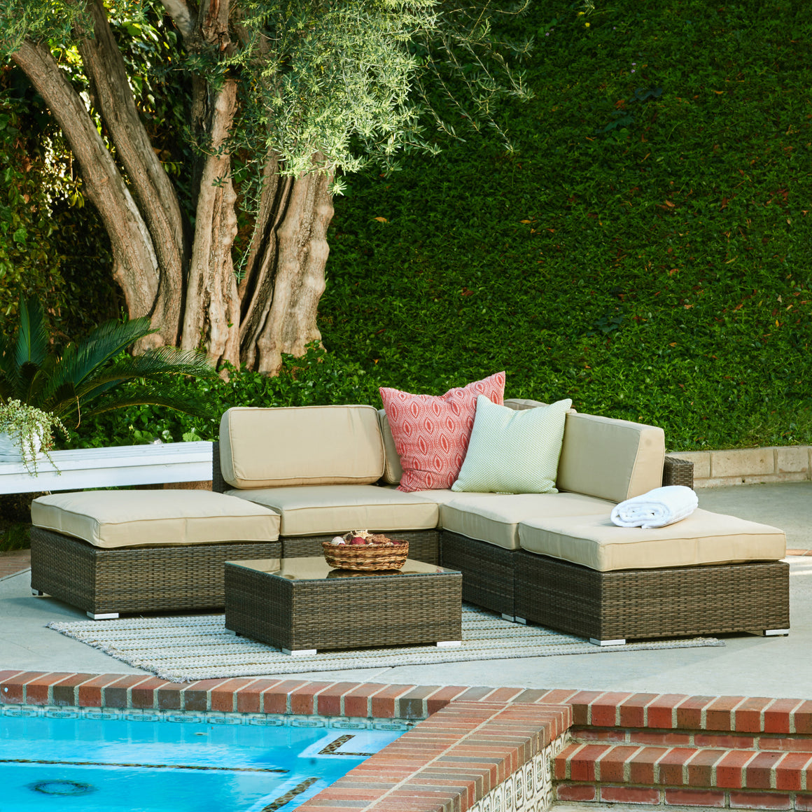 W Unlimited Sophia Collection Outdoor Garden Dark Brown Wicker sectional Sofa set  6PC set w/ Beige Cushions , W Unlimited- grayburd