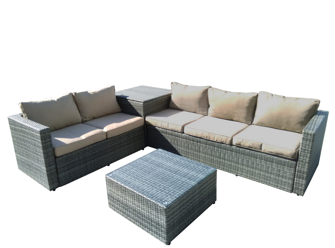 W Unlimited Aurora Collection Outdoor Garden Gray Wicker Conversational Furniture 4PC set w/ Storage Beige Cushion , W Unlimited- grayburd