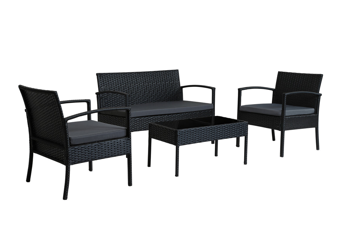 W Unlimited  Lucy Collection Outdoor Garden Black Wicker Conversational Furniture 4PC set w/ Table Dark Gray Cushion , W Unlimited- grayburd