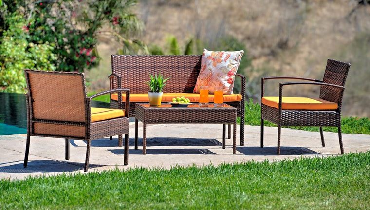W Unlimited  Lucy Collection Outdoor Garden Black Wicker Conversational Furniture 4PC set w/ Table Orange Cushion , W Unlimited- grayburd
