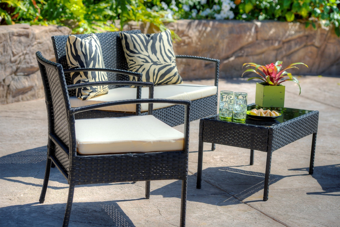 W Unlimited Lucy Collection Outdoor Garden Black Wicker Conversational Furniture 4PC set w/ Table Beige Cushion , W Unlimited- grayburd