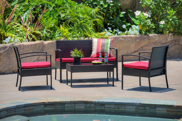 W Unlimited  Lucy Collection Outdoor Garden Black Wicker Conversational Furniture 4PC set w/ Table Red Cushion , W Unlimited- grayburd