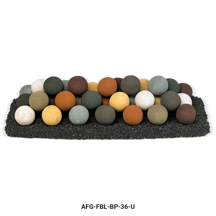 American Fire Glass - Lite Stone Balls with Small Lava Rock (Uniform Set) , American Fire Glass- grayburd