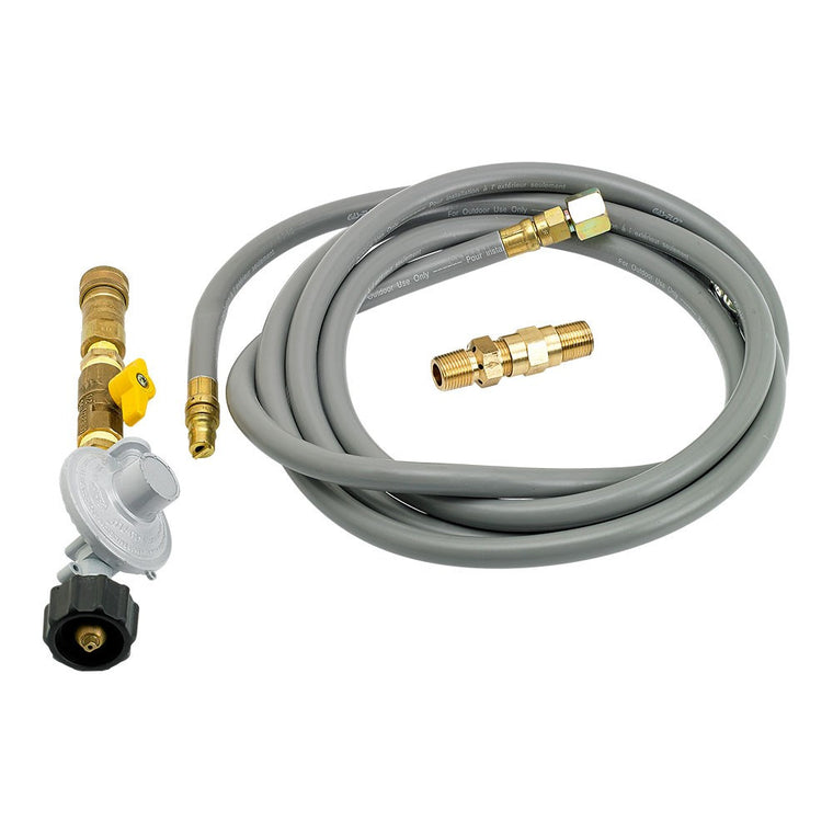 American Fire Glass - Propane Fire Pit Installation Kit (12' Hose Quick-Connect) , American Fire Glass- grayburd
