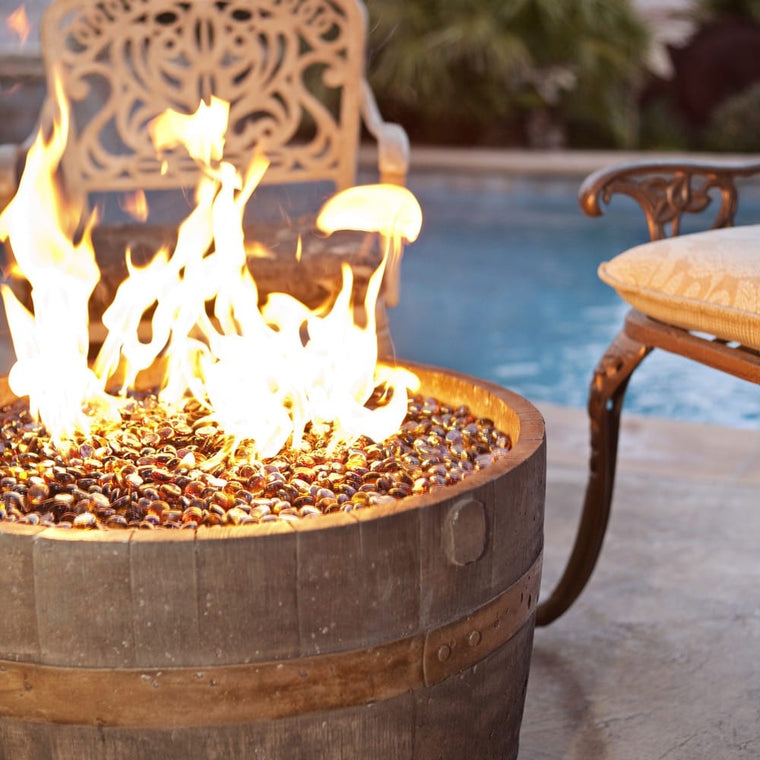 Tretco Wine Barrel Fire Pit  Rust Finish - grayburd