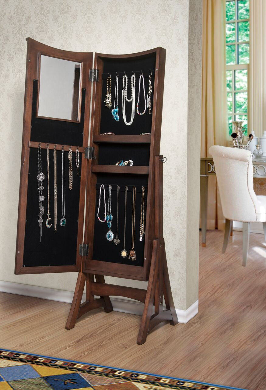 W Unlimited Bedford Classic Long Cheval Mirror Jewelry Cabinet Storage Armoire , W Unlimited- grayburd