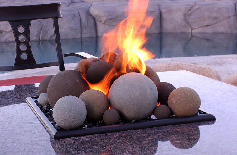 American Fire Glass - Lite Stone Balls with Small Lava Rock (Mixed Set) , American Fire Glass- grayburd