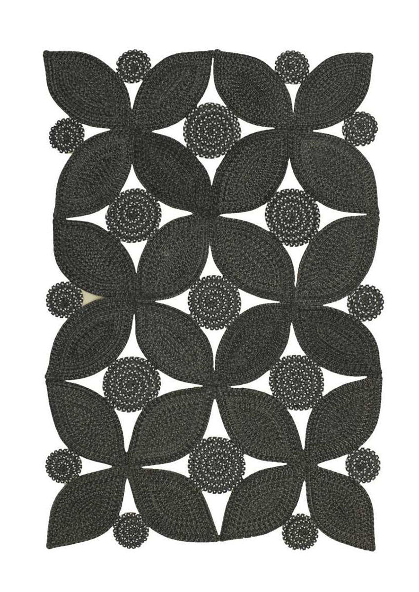 Homespice Decor Meadow Black Indoor/Outdoor Braided Rug Rectangle - 2' x 4' , Crosby- grayburd