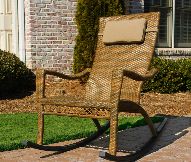 Maracay Rocking Chair with Head Cushion - Tree Bark Wicker