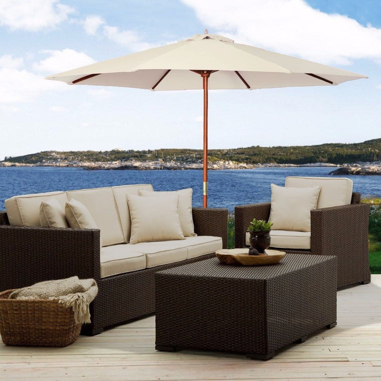 10Ft Wooden Patio Umbrella (Beige) , The Wicker House- grayburd