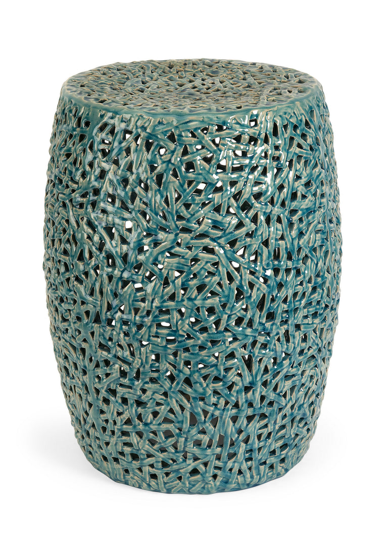 Whimsical Tobias Cutwork Garden Stool , Benzara Inc- grayburd