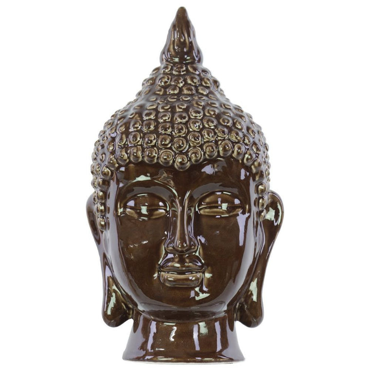Ceramic Buddha Head Decor , Benzara Inc- grayburd