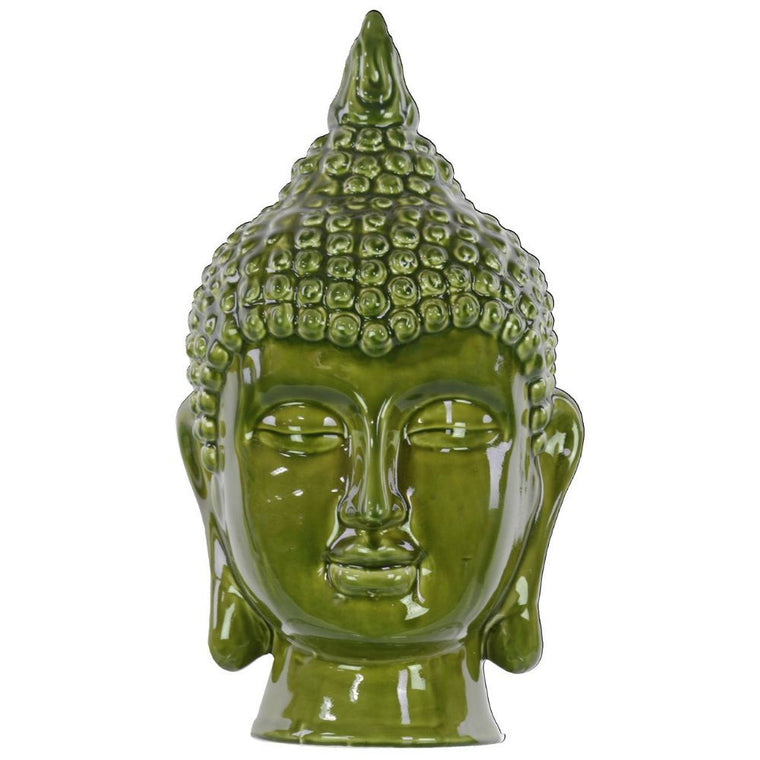 Ceramic Buddha Head Decor - Olive Drab , Benzara Inc- grayburd