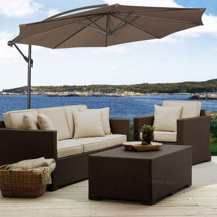 10' Hanging Umbrella Patio Sun Shade Offset Outdoor Market W/T Cross Base , The Wicker House- grayburd