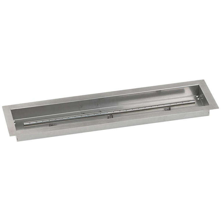 American Fire Glass - Drop-In Fire Stainless Steel Linear Pit Pan (T-Burner Included) , American Fire Glass- grayburd