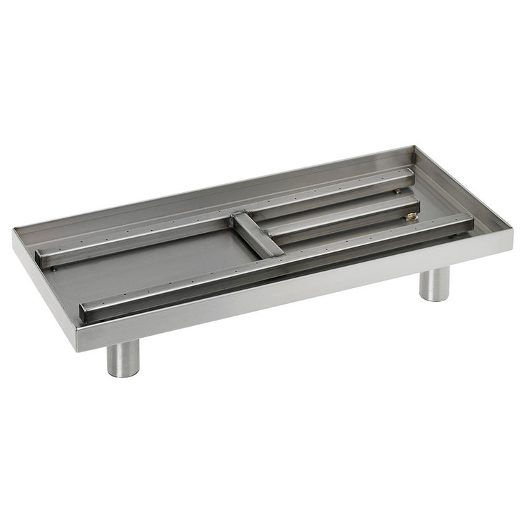 American Fire Glass - Fireplace Stainless Steel Burner Pan (Rectangular) , American Fire Glass- grayburd