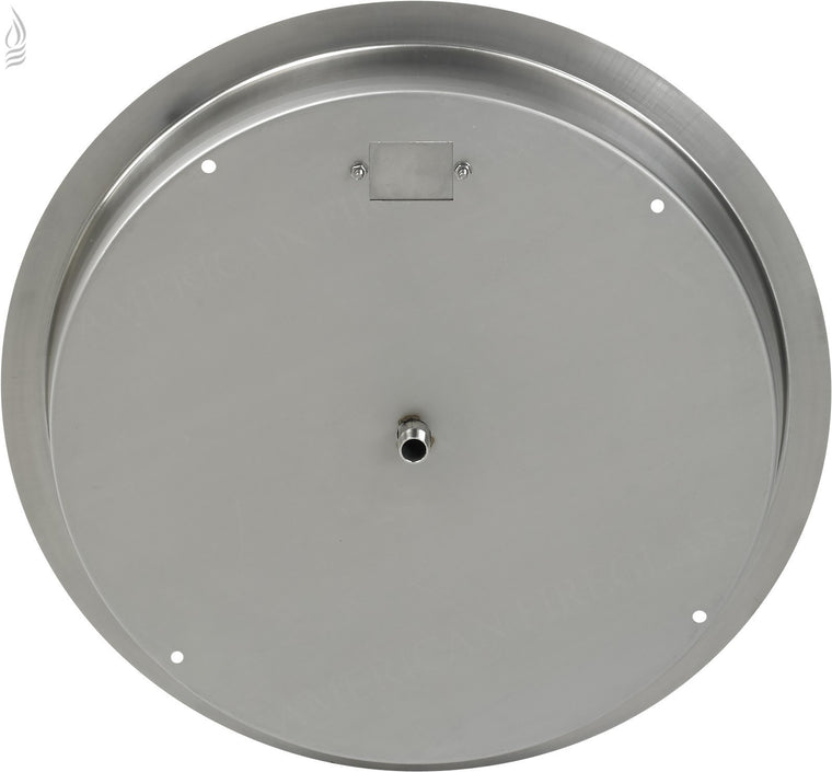 "American Fire Glass - Drop-In Fire Round Stainless Steel Pit Pan (1/2"" Nipple) , American Fire Glass- grayburd"