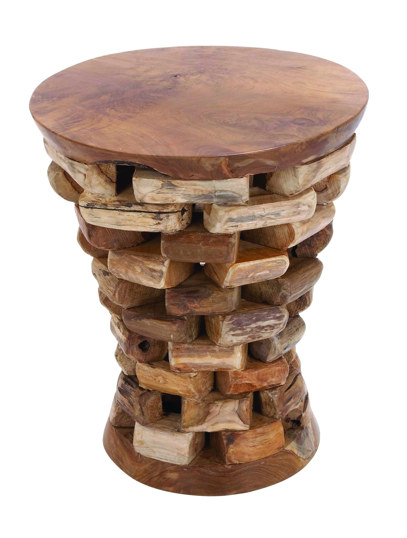 - Round Shaped Teak Wooden Accent Table In Natural Rich Textures