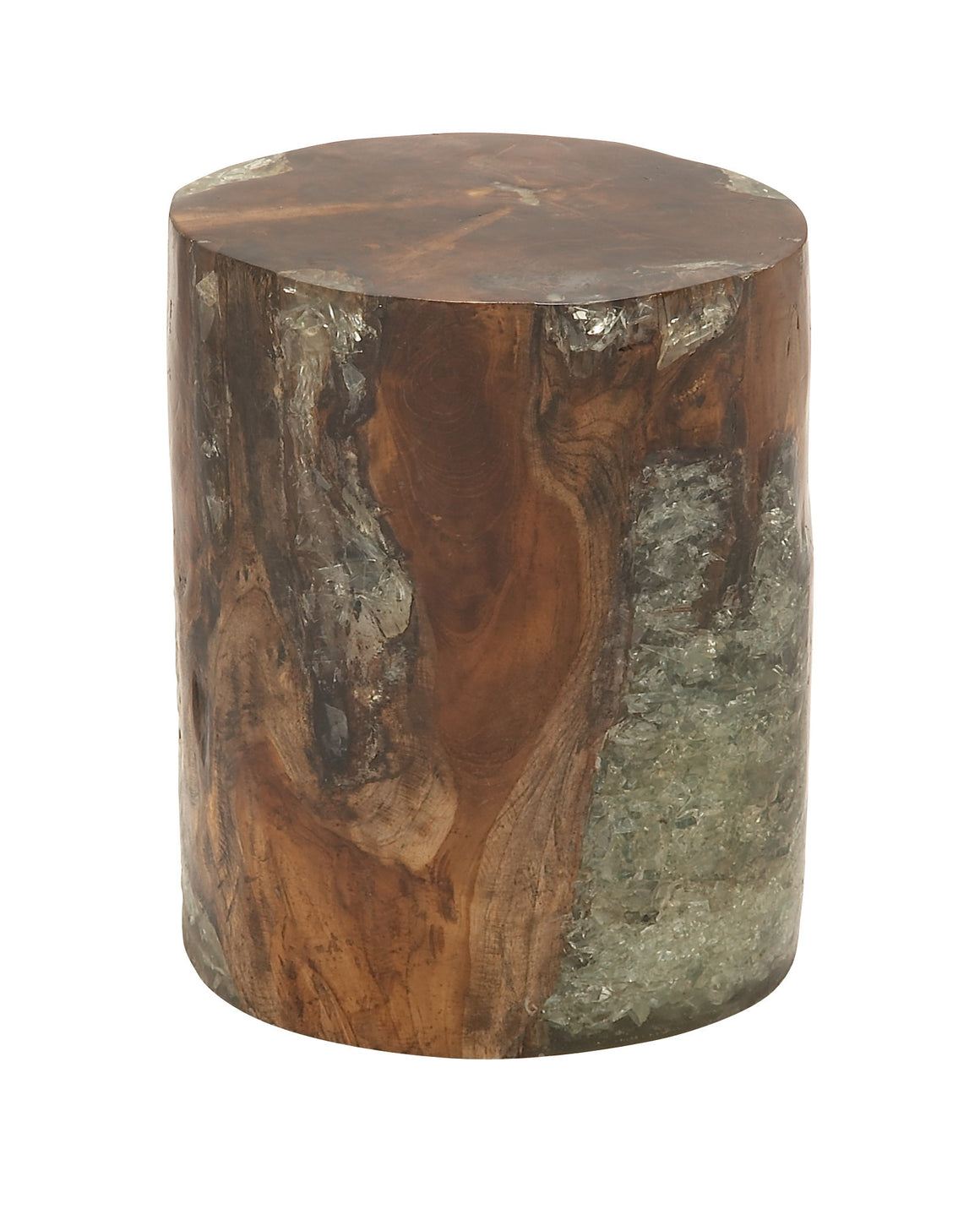 Natural Wood Teak Resin Foot Stool: Natural wood teak resin foot stool , Benzara Inc- grayburd