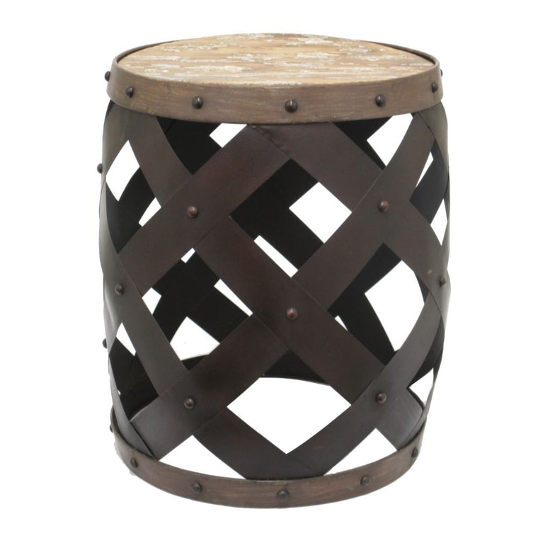 Chic Metal Wood Accent Table: Chic metal wood accent table , Benzara Inc- grayburd