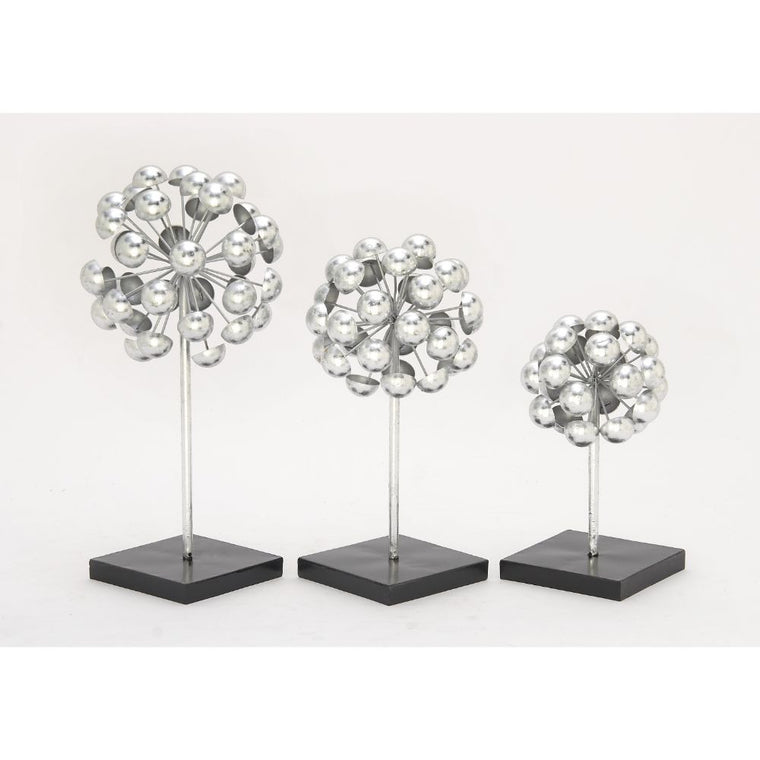 Benzara Chic metal silver sculpture set of 3 , Benzara Inc- grayburd