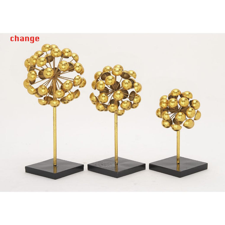 Benzara Golden Button Flower Sculpture on Black Base - Set of 3 , Benzara Inc- grayburd