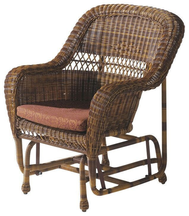 Wick Gliding Chair Natural Brown Outdoor Patio Furniture Home Decor Resin Rattan , W Unlimited- grayburd