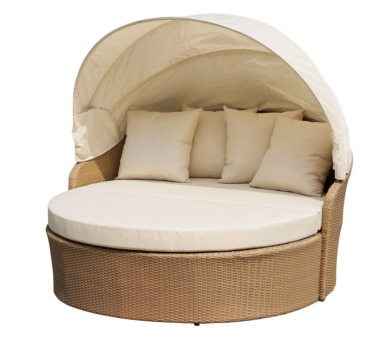 W Unlimited Blueczy Collection Canopy Daybed Outdoor Backyard Patio Furniture Light Brown Wicker , W Unlimited- grayburd