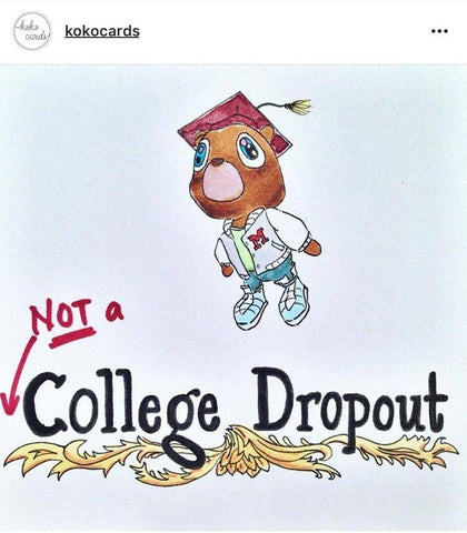 college dropout kanye graduation bear card