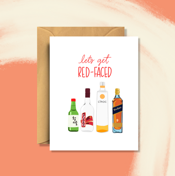 Red Face Asian Birthday Card