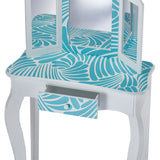 Vanity Set Kids Table Stool Mirror Fashion Prints Girls new Great gift idea nwt