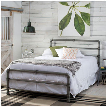 Industrial Style Bed Metal Finish Queen pipe headboards