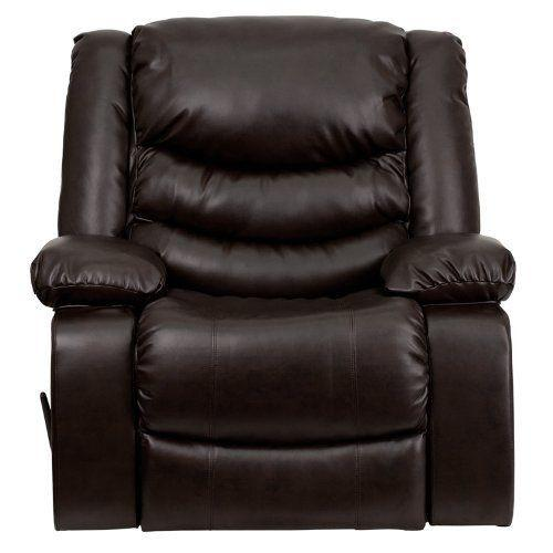 Rocker Recliner Glider Chair Leather Swivel Brown