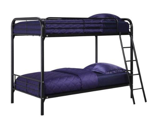 Twin Over Twin, Metal Bunk Bed - Black
