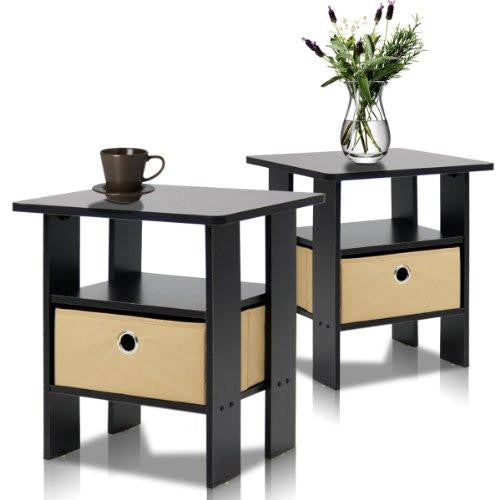 End Table Bedroom Night Stand, Petite Espresso Set of 2